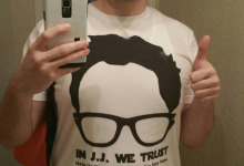 Geoff Brooks and his snazzy new In J.J. We Trust shirt!